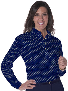 Petites Long Sleeve Print Polos-br-Dot-to-Dot 04B