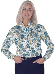Ladies Long Sleeve Print Polos<br>Paint the Town 04E - Leonlevin