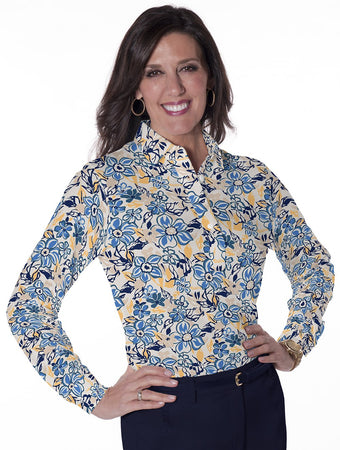 Ladies Long Sleeve Print Polos Floral Float 04G