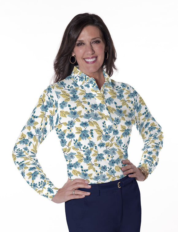 Ladies Long Sleeve Print Polos-br-One Fine Day 04L