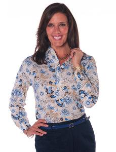 Petite Long Sleeve Print Polo</br>Always and Forever 05C