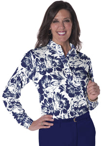 Petite Long Sleeve Print Polo Painter's Relief 05F - Leonlevin