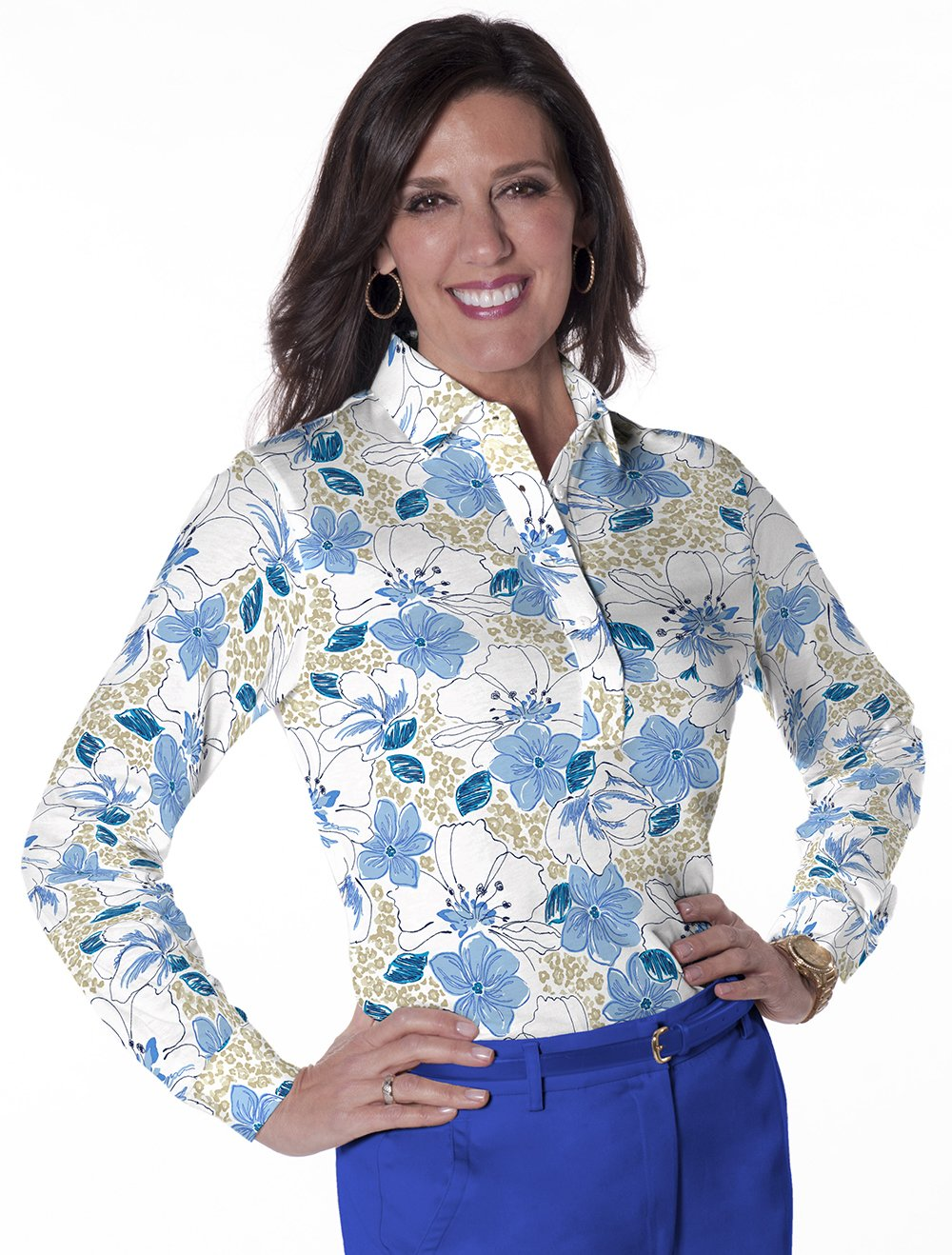 Petite Long Sleeve Print Polo</br>Force of Nature 05G