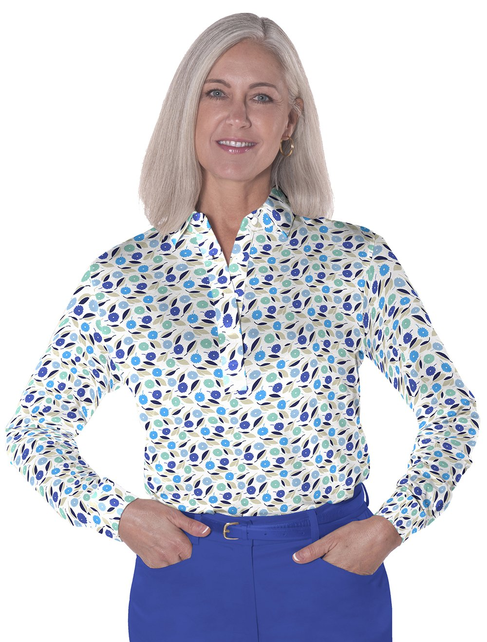 Petite Long Sleeve Print Polo</br>Spring Fever 05H
