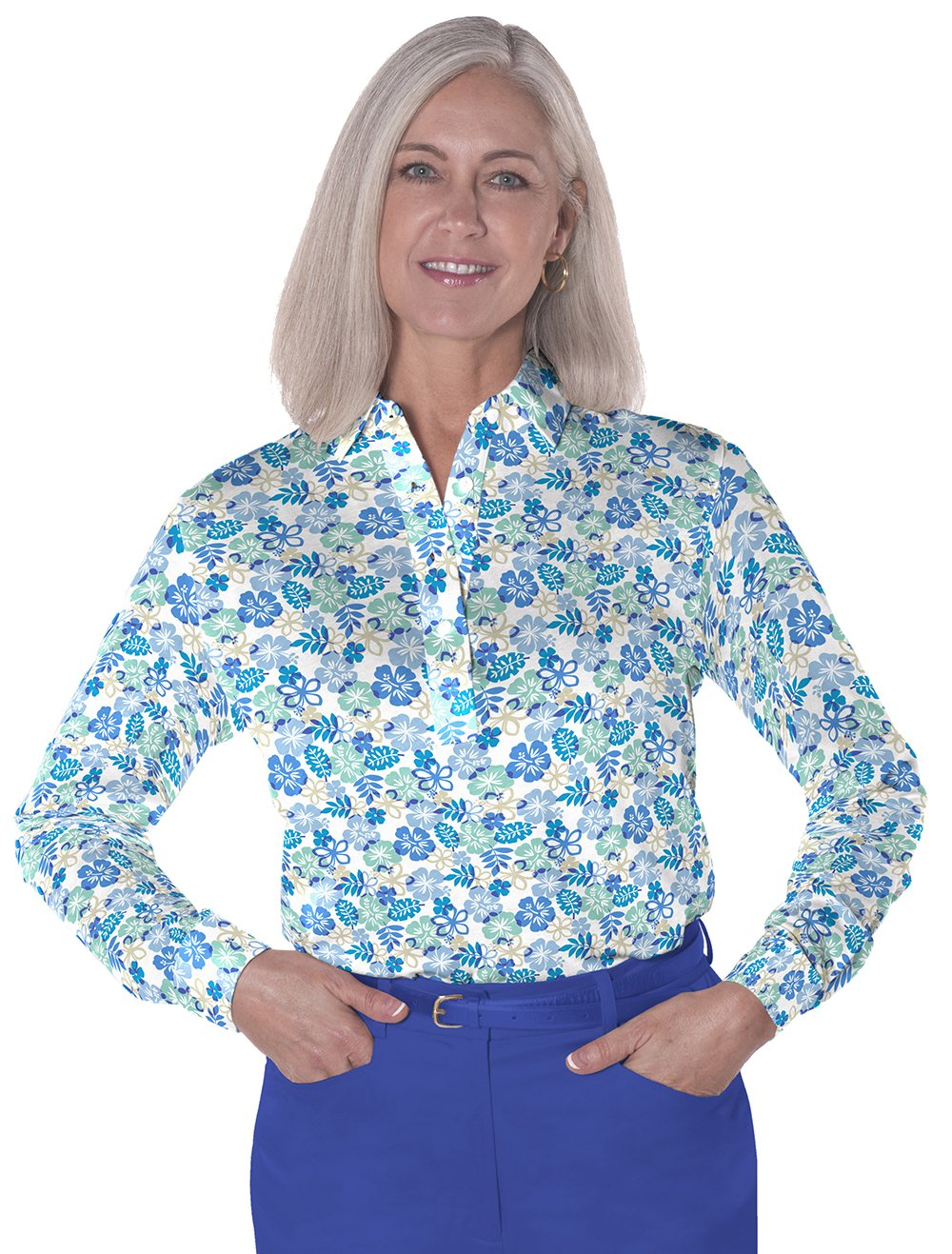 Petite Long Sleeve Print Polo</br>A Place in the Sun 05J - Leonlevin