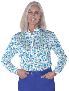 Petite Long Sleeve Print Polo</br>A Place in the Sun 05J