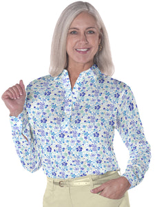 Ladies Long Sleeve Print Polo</br>Under the Sea 05n