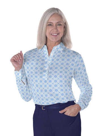 Petites Long Sleeve Print Polo Shirts</br>Tiled & True 05P