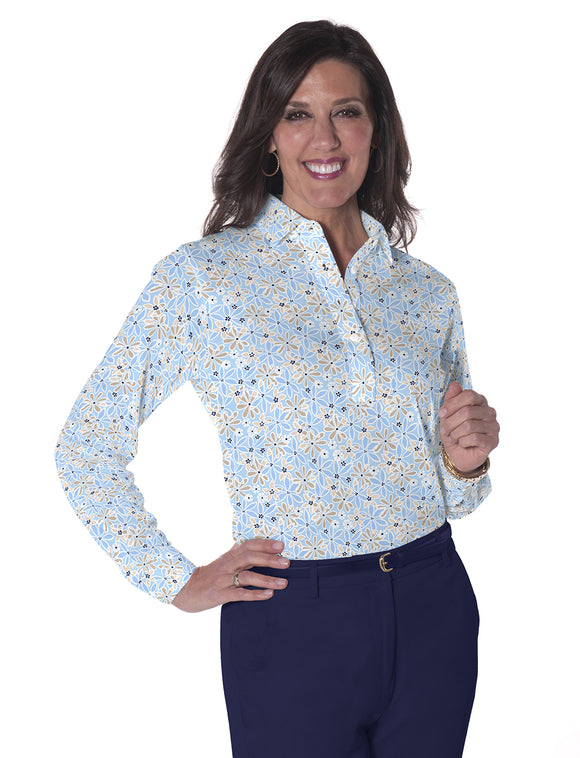 Petite Long Sleeve Print Polo</br>Sweet Serenade 05R