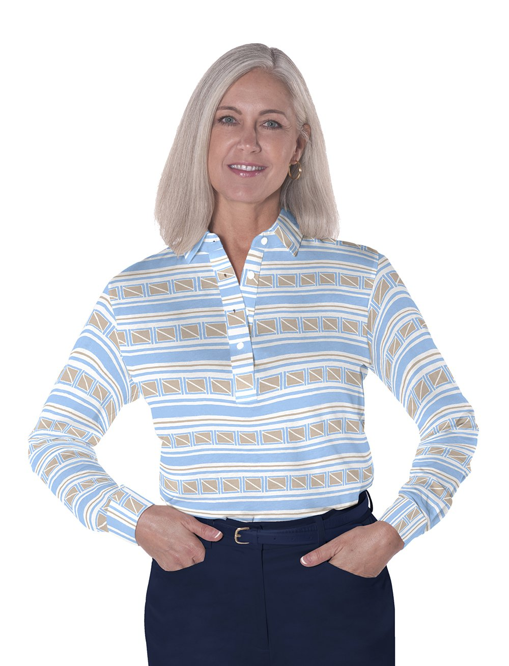 Long Sleeve Print Polos</br>All Ashore! 05S