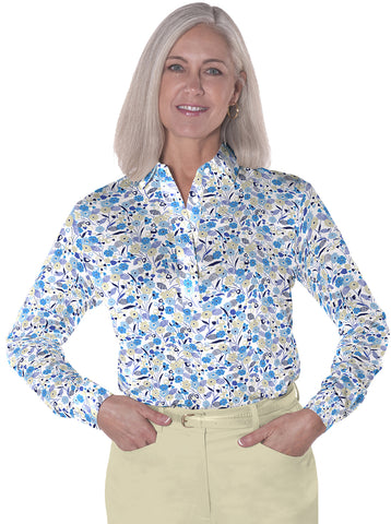 Petite Long Sleeve Print Polo</br>Here and There 05i