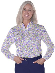 Ladies Long Sleeve Print Polo Shirts Ocean Rose 07D - Leonlevin