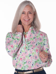 Petite Long Sleeve Print Polo</br>Floral Float 10W