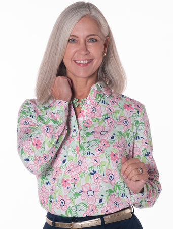 Long Sleeve Print Polo</br>Floral Float 10W