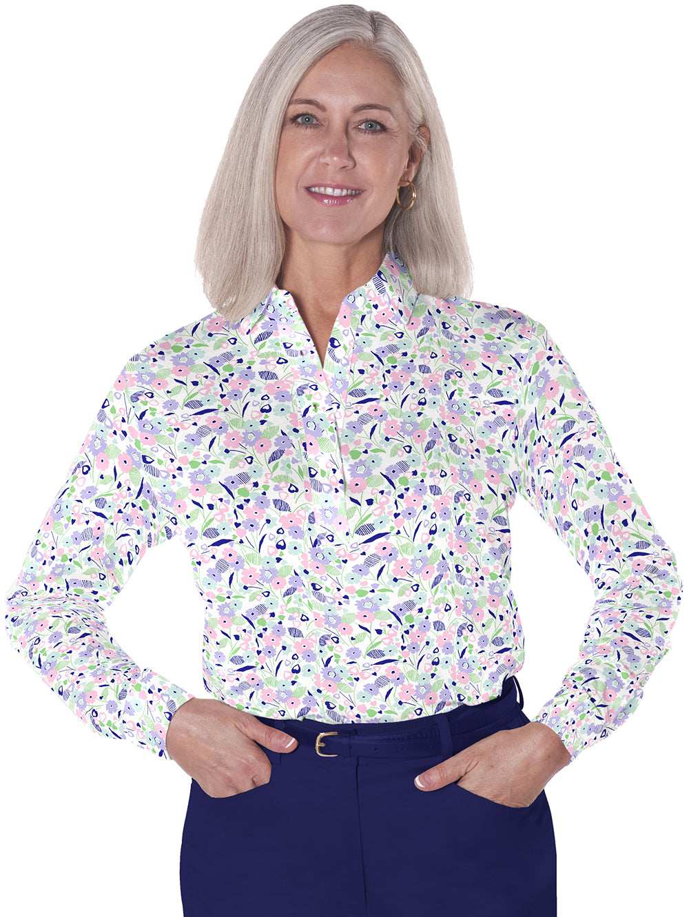Petite Long Sleeve Print Polo Shirts</br>Here and There 07G - Leonlevin