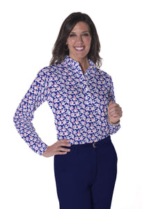 Petite Long Sleeve Print Polo Shirts | Tulip Twist 07H