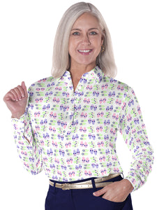 Petite Long Sleeve Print Polo</br>Flip Out 07J