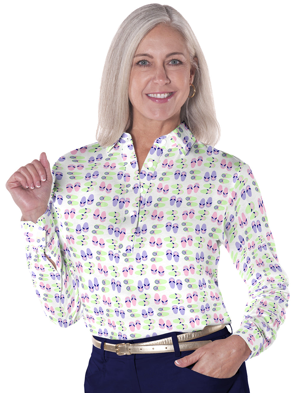 Long Sleeve Print Polo</br>Flip Out 07J