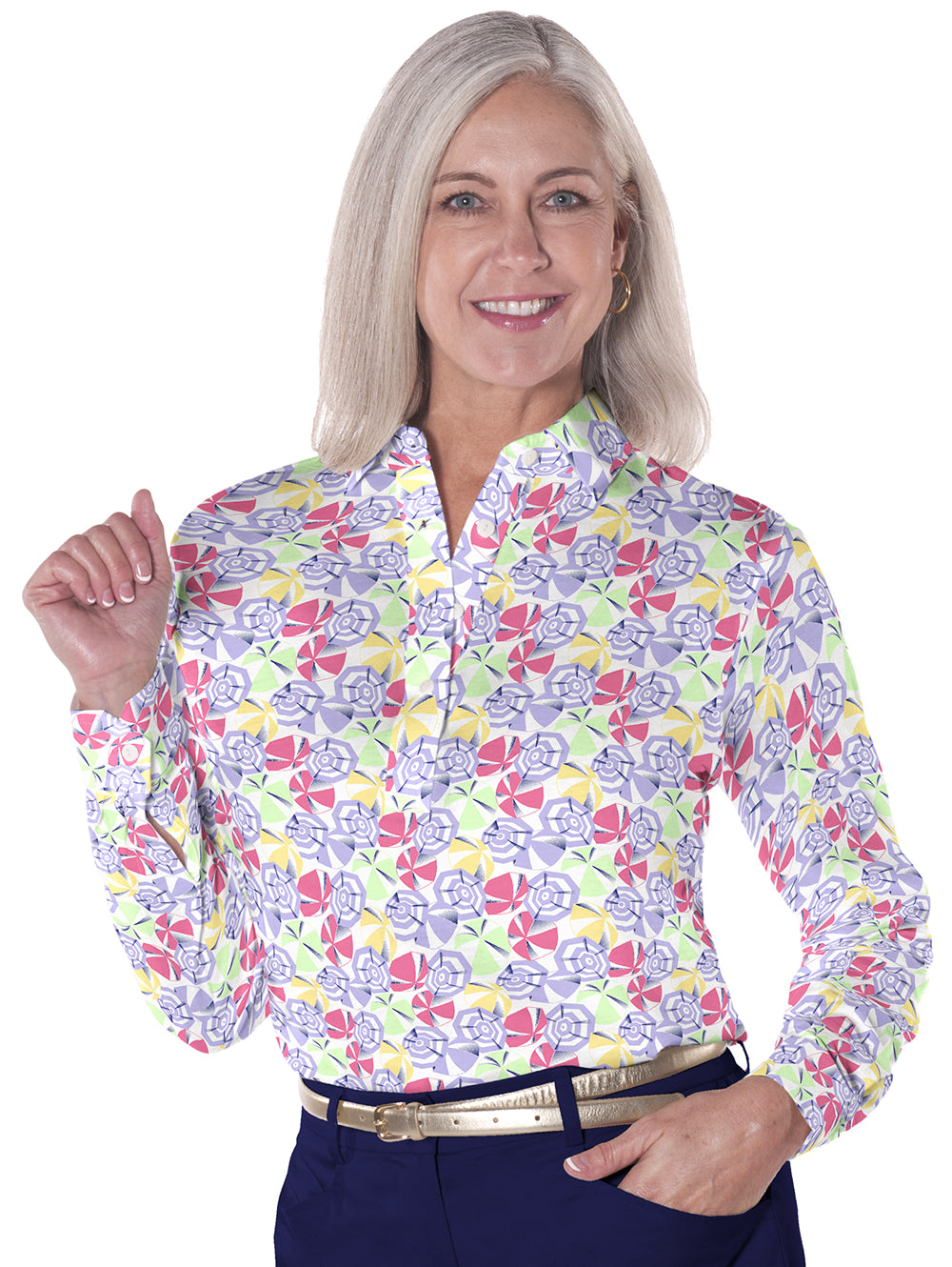 Long Sleeve Print Polo</br>Vacation 07K