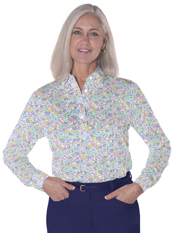 Ladies Long Sleeve Print Polo Shirts</br>Budding Beauty 07i