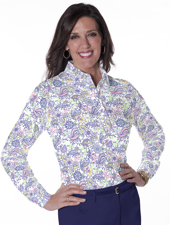 Petite Long Sleeve Print Polo</br>Wanderlust 07L
