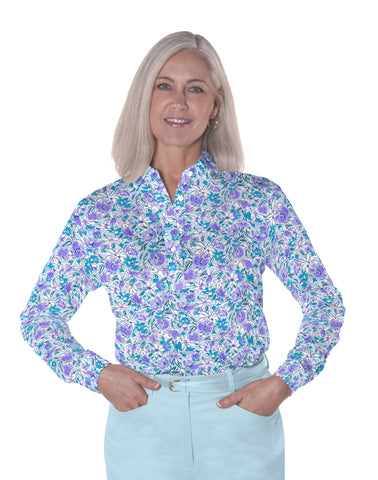 Petite Long Sleeve Print Polo | Fancy This 08F