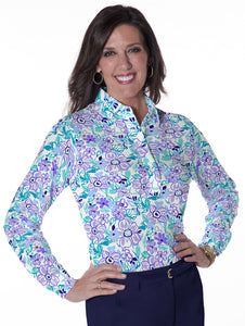 Petite Long Sleeve Print Polo Shirts</br>Floral Float 08G