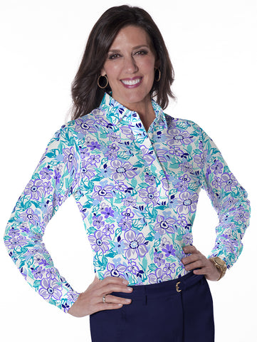 Petite Long Sleeve Print Polo Shirts Flower Fling 08G - Leonlevin