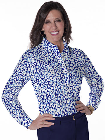 Ladies Long Sleeve Print Polo Shirts Spotted Leopard 08L