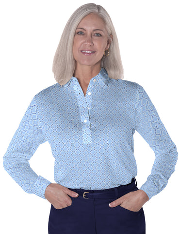 Petite Long Sleeve Print Polo | Chainette 08C - Leonlevin
