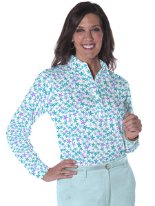 Ladies Long Sleeve Print Polo Shirts Star Gazer 08o - Leonlevin