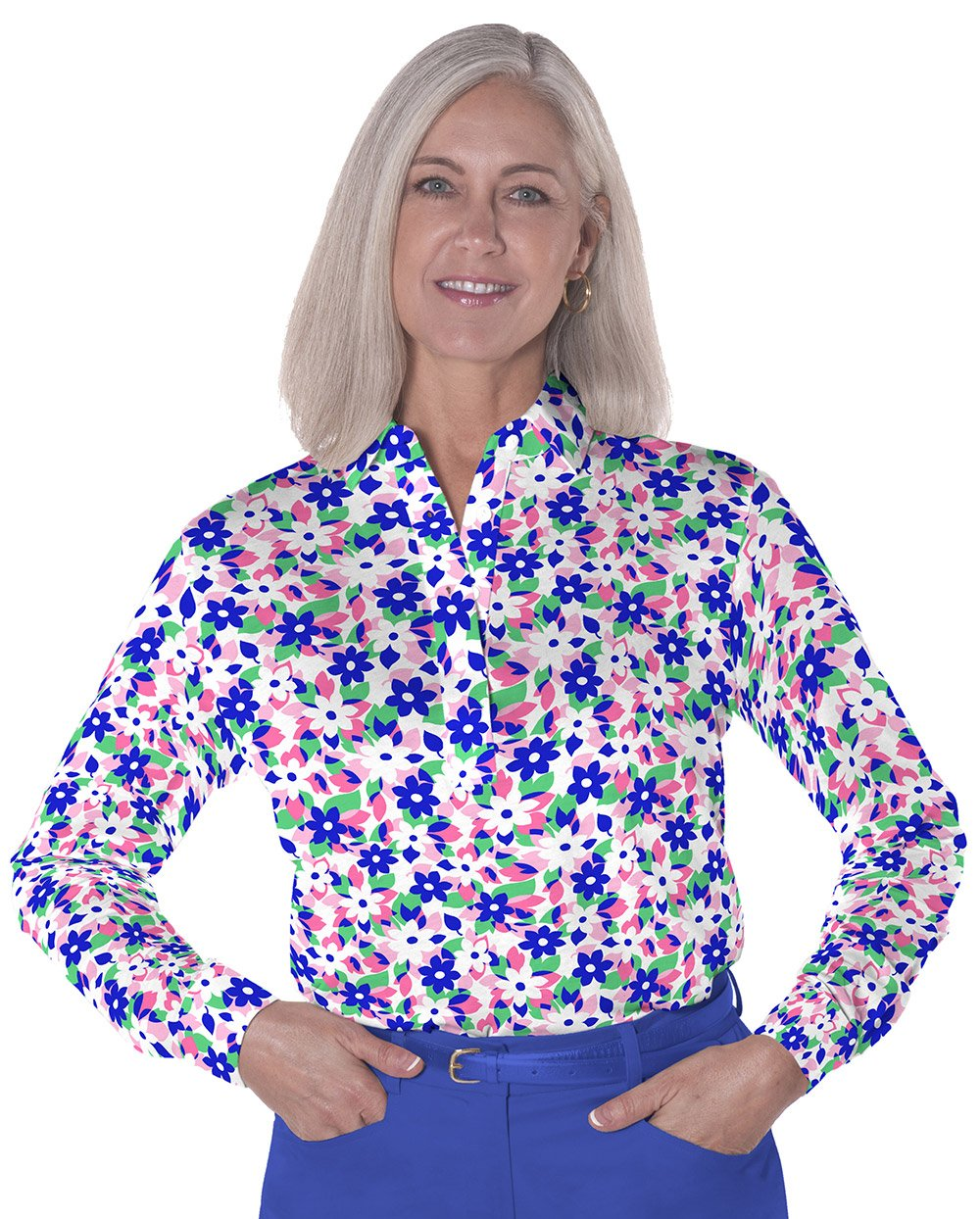 Petite Long Sleeve Print Polo</br>Hidden Treasure 09A