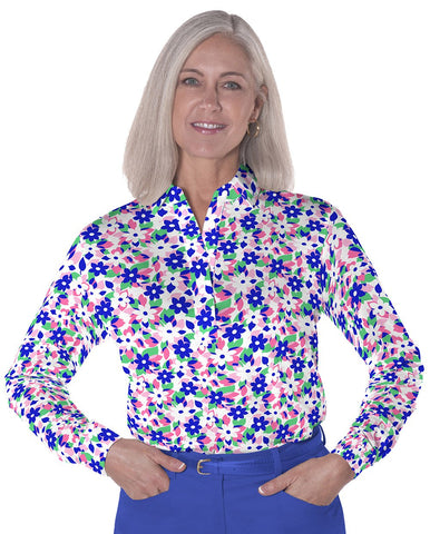 Petite Long Sleeve Print Polo</br>Hidden Treasure 09A - Leonlevin
