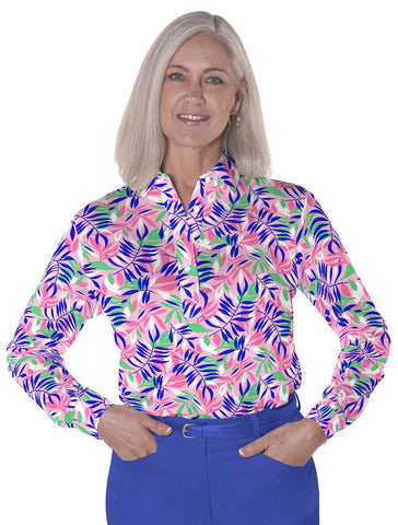 Petite Long Sleeve Print Polo | Summer Splash 09C - Leonlevin