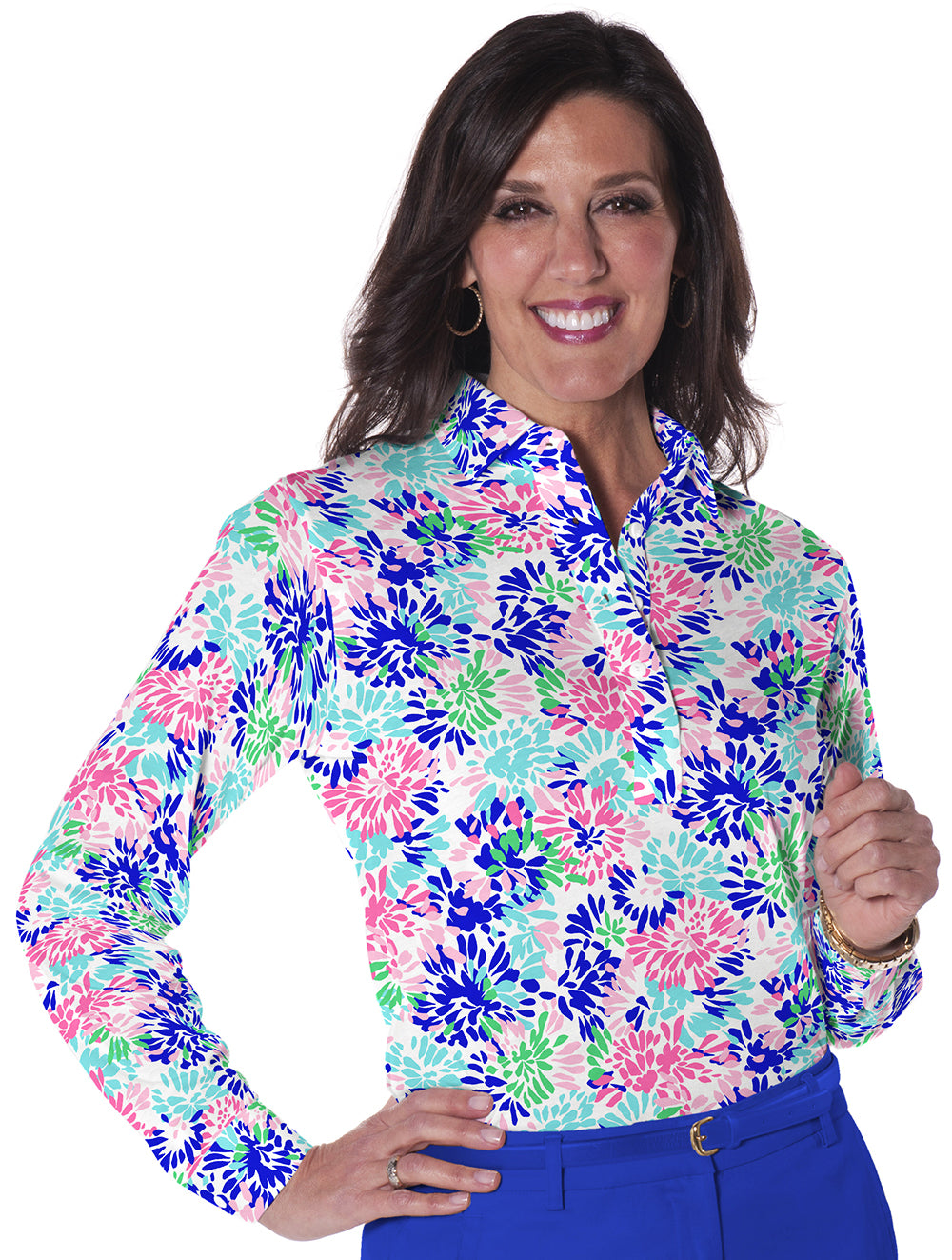 Long Sleeve Print Polo</br> Splish Splash  09E - Leonlevin