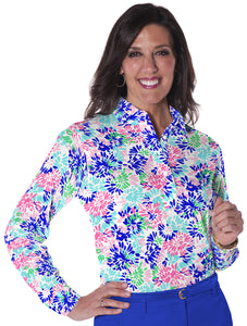 Petite Long Sleeve Print Polo</br> Splish Splash  09E - Leonlevin