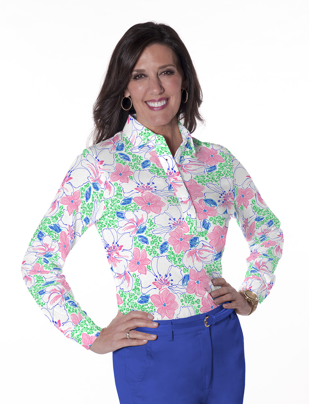 Long Sleeve Print Polo</br>Force of Nature 09D - Leonlevin