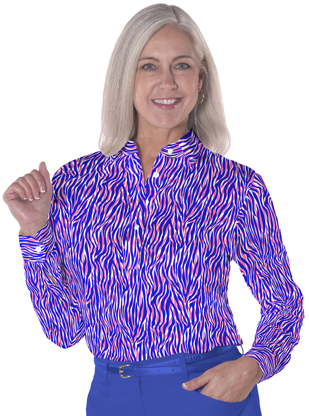Petite Long Sleeve Print Polo | Wild About You 09J - Leonlevin