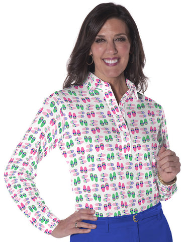 Petite Long Sleeve Print Polo</br>Flip Out 09M