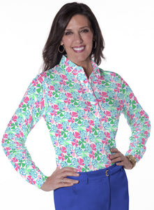 Petite Long Sleeve Print Polo</br>Permanent Vacation 09N