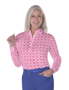 Long Sleeve Print Polos</br>Tiled & True 09R