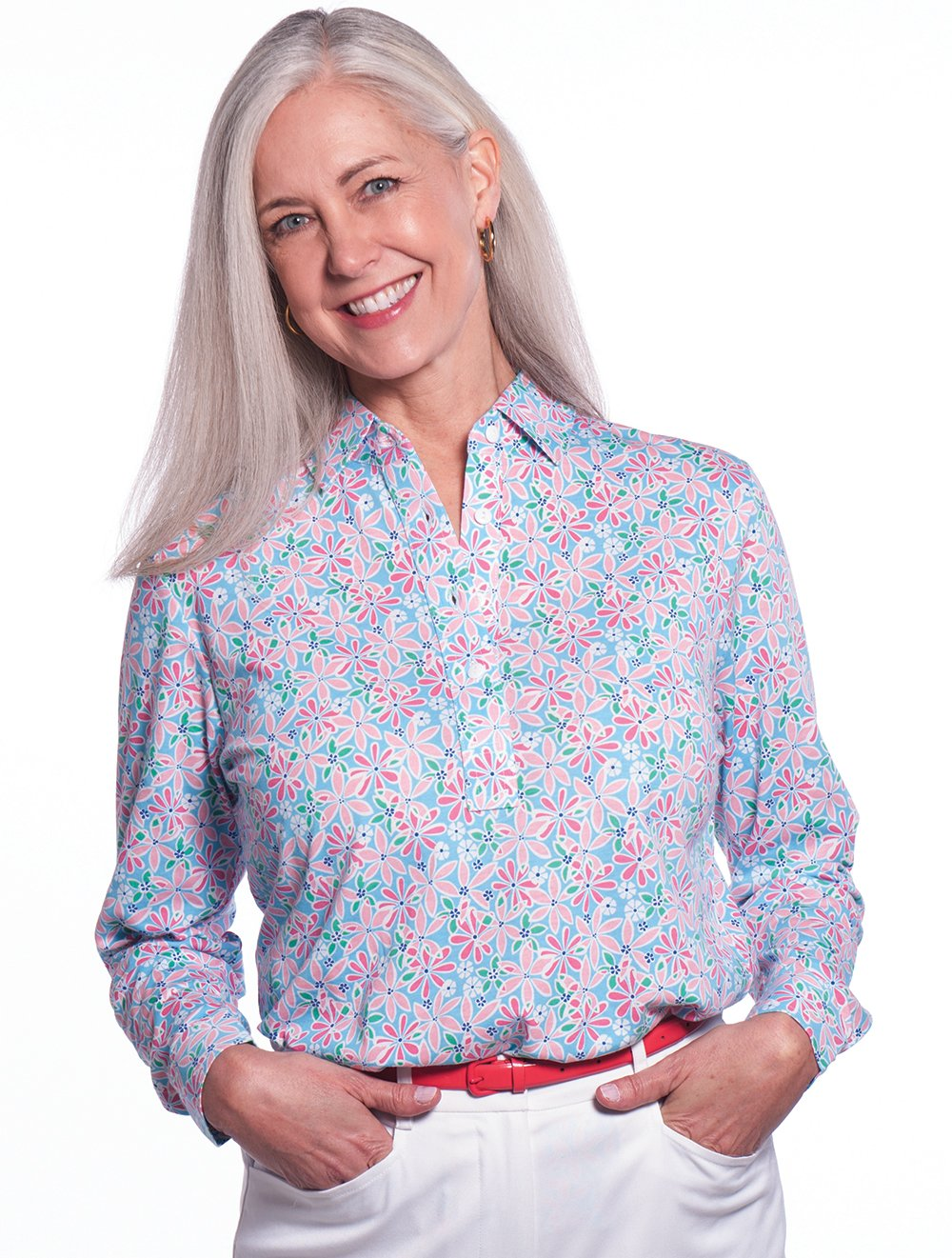 Petite Long Sleeve Print Polo</br>Sweet Serenade 09i