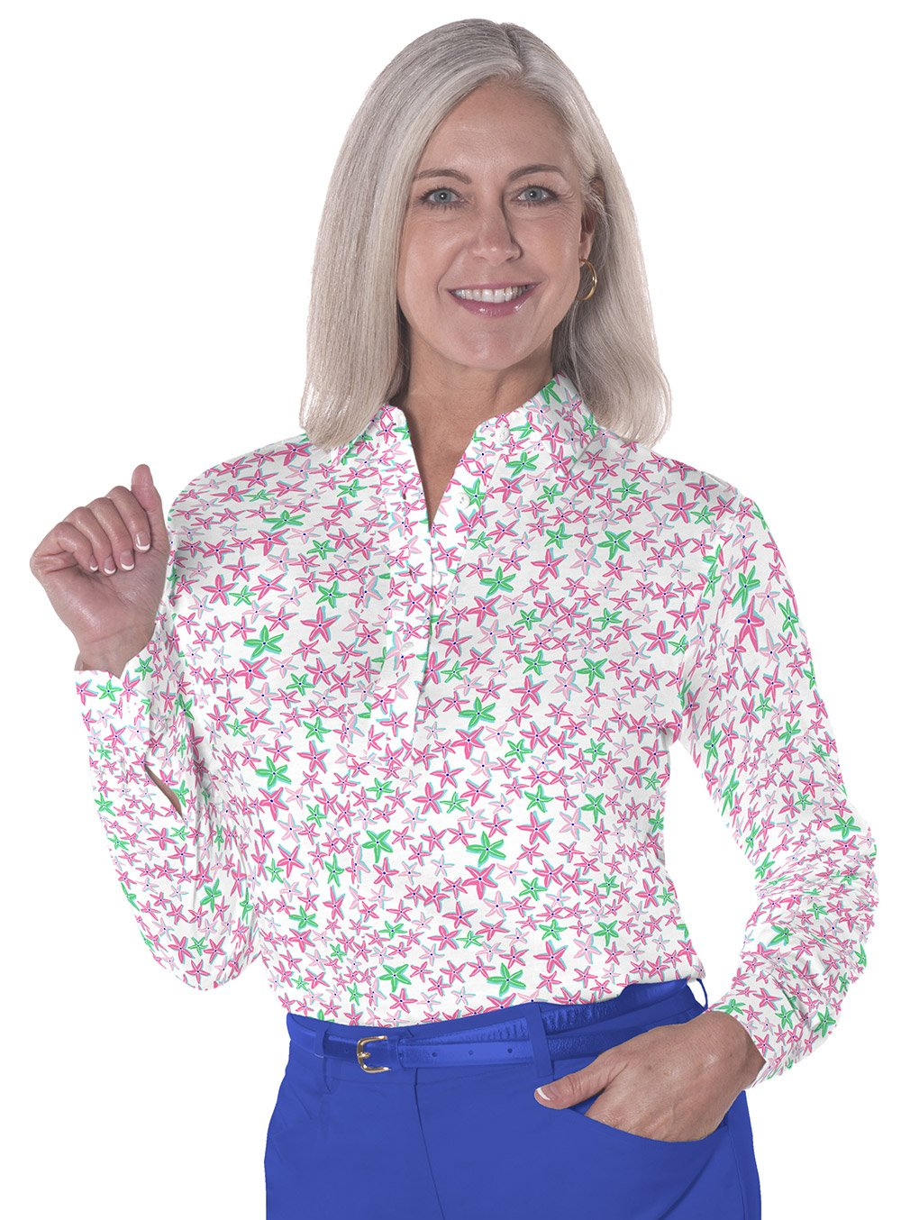 Petite Long Sleeve Print Polo</br>In the Stars 09o