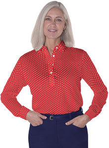 Petites Long Sleeve Print Polo Shirts</br>Dot to Dot 10A
