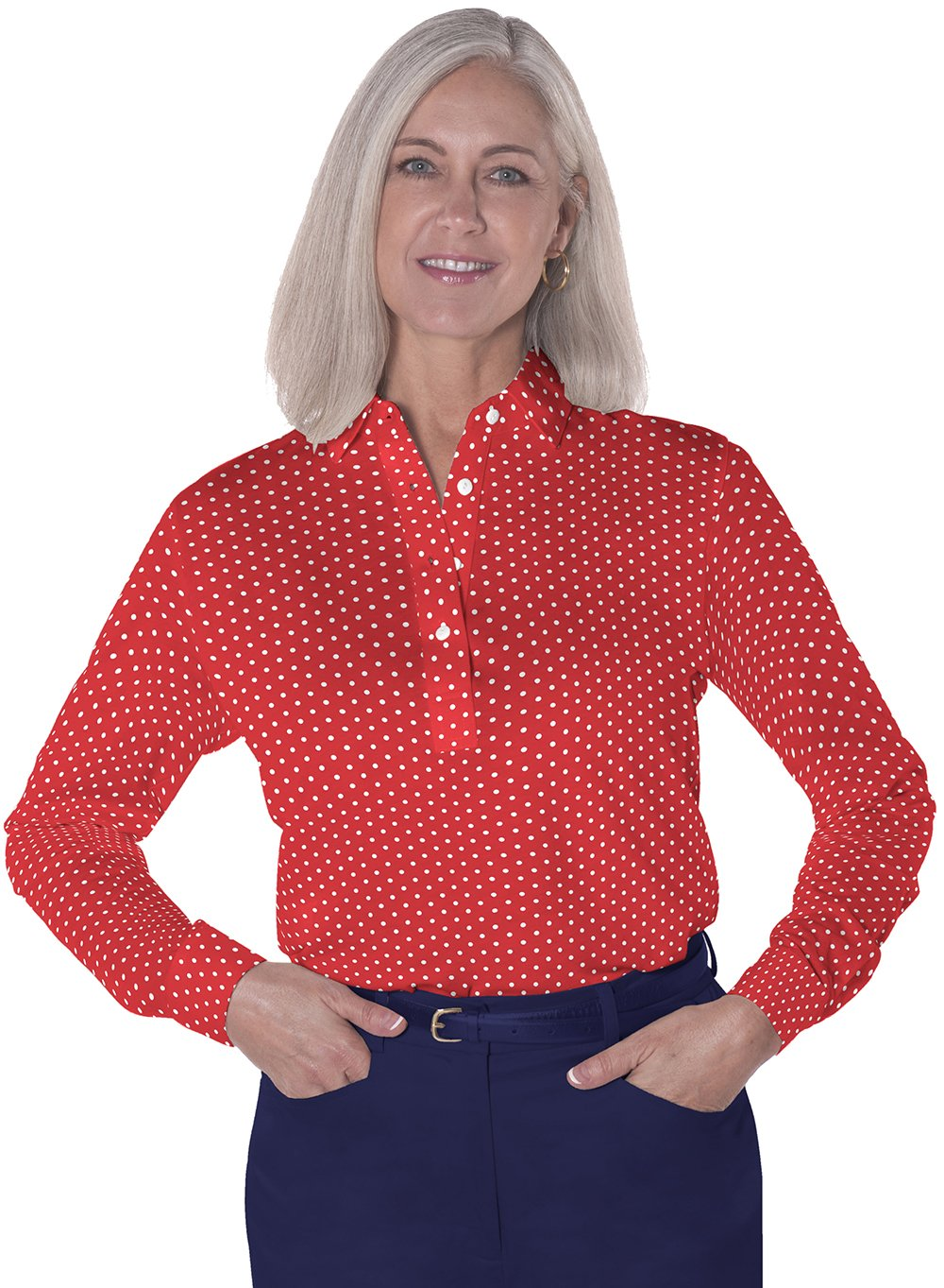 Long Sleeve Print Polos</br>Dot to Dot 10A