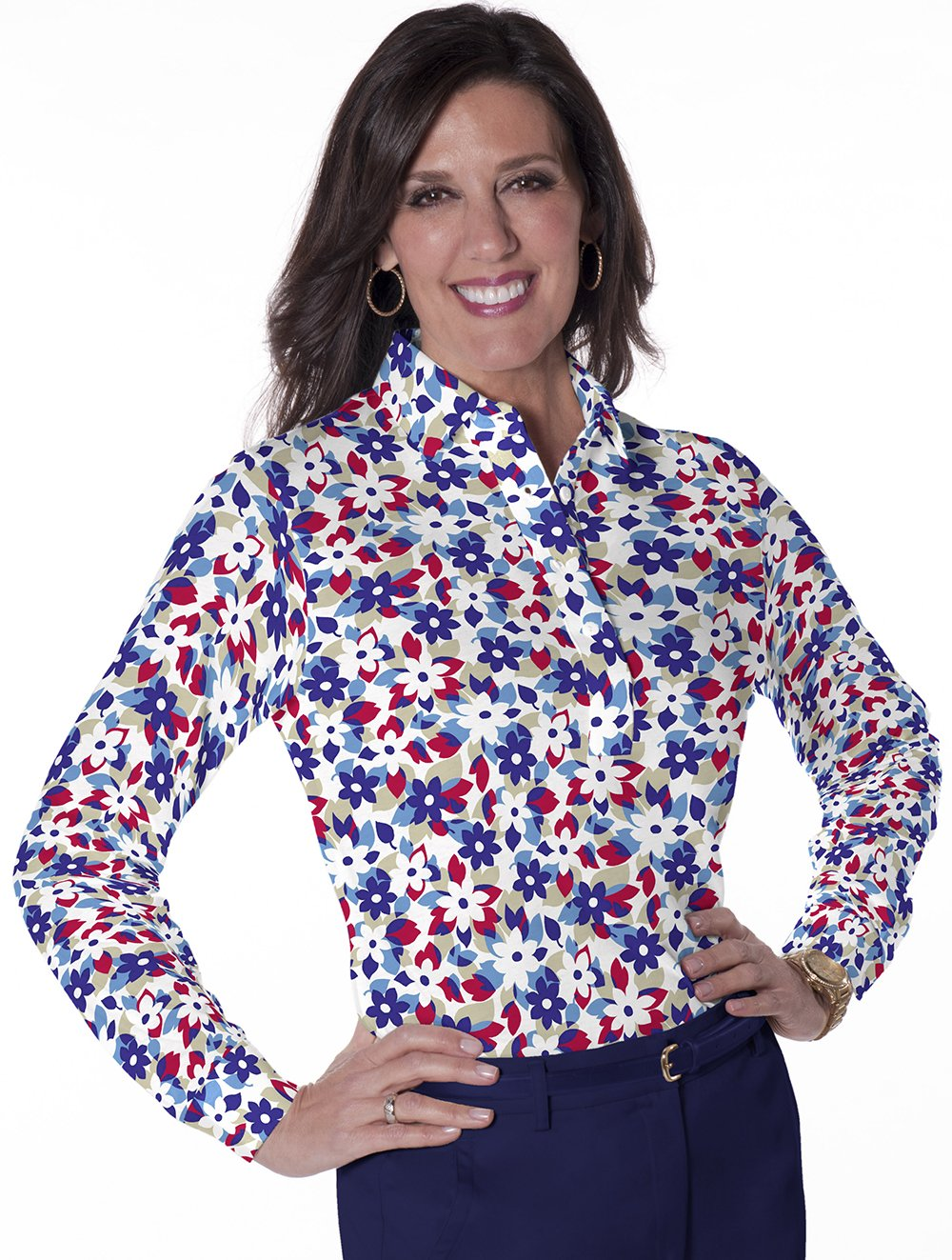 Petite Long Sleeve Print Polo</br>Hidden Treasure 10B