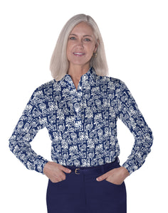 Petite Long Sleeve Print Polo</br>Shell Game 10N