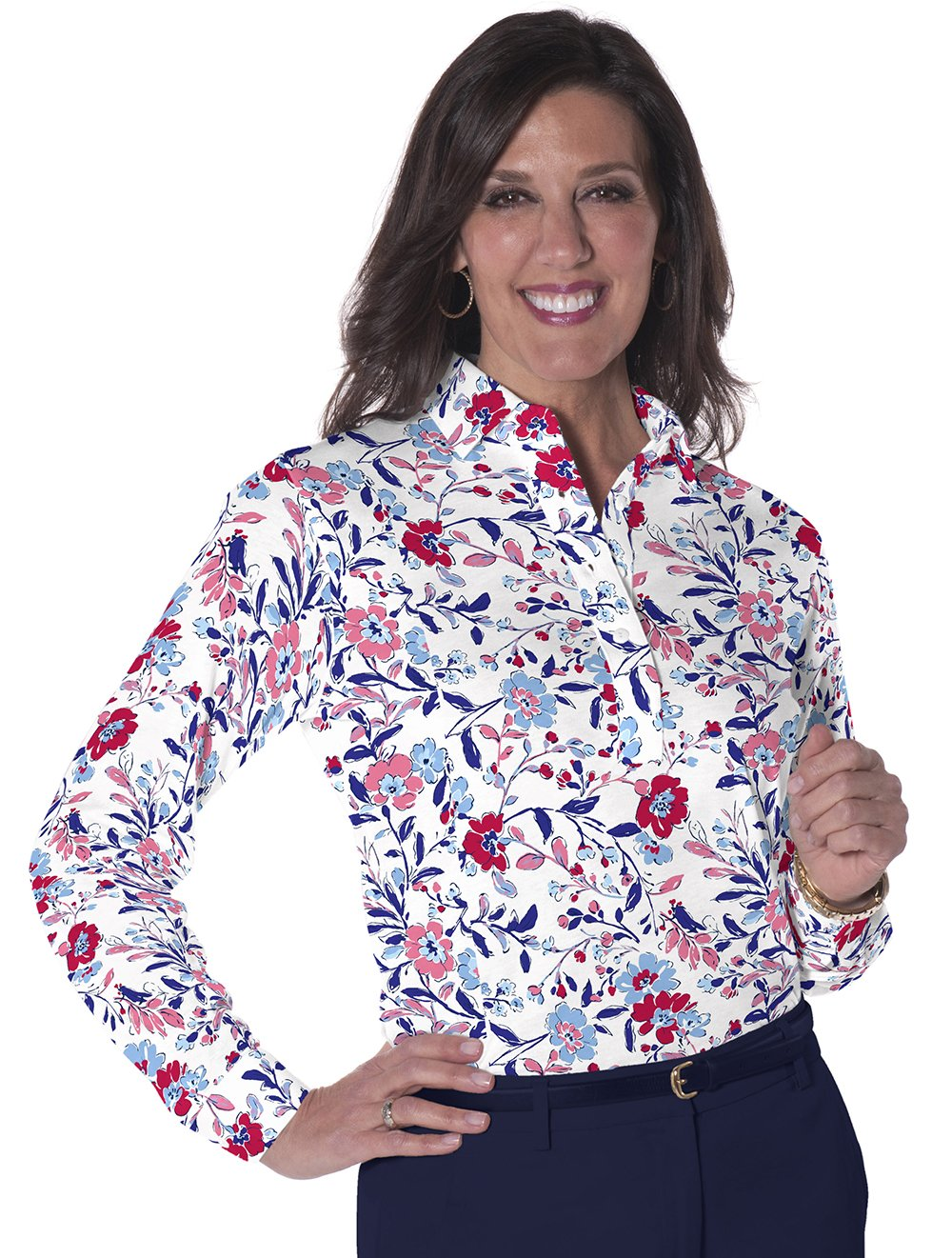 Petite Long Sleeve Print Polo</br>Easy Breezy 10P - Leonlevin