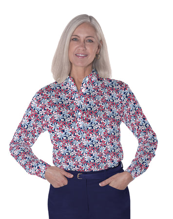 Long Sleeve Print Polo</br>Sweet Serenade 10S