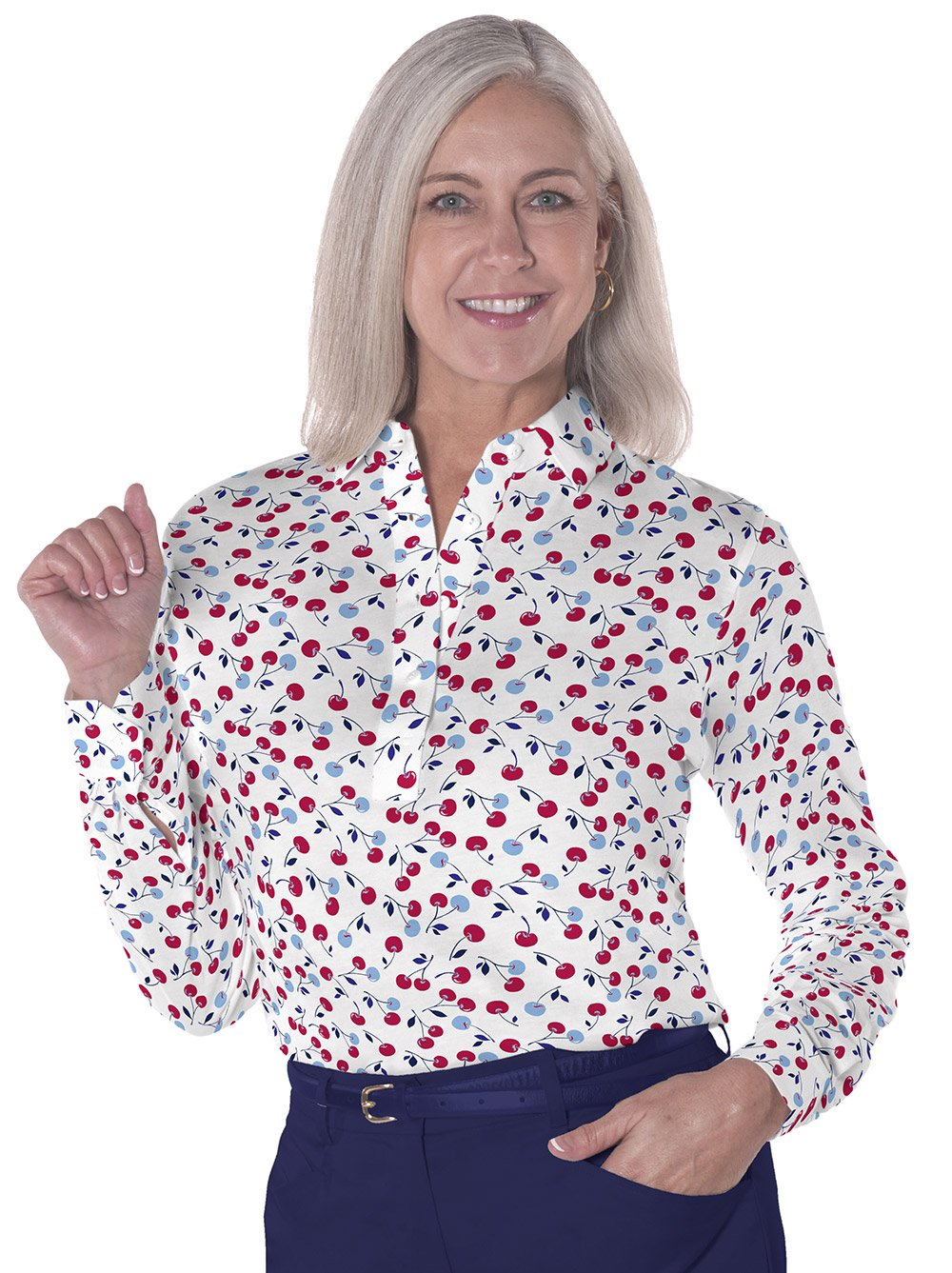 Petites Long Sleeve Print Polo Shirts</br>Cherry Bomb 10T